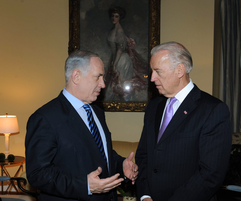 Then-Vice President Biden, right, meets with then-Israeli Prime Minister Benjamin Netanyahu in 2010. Pro-Israel groups pressu