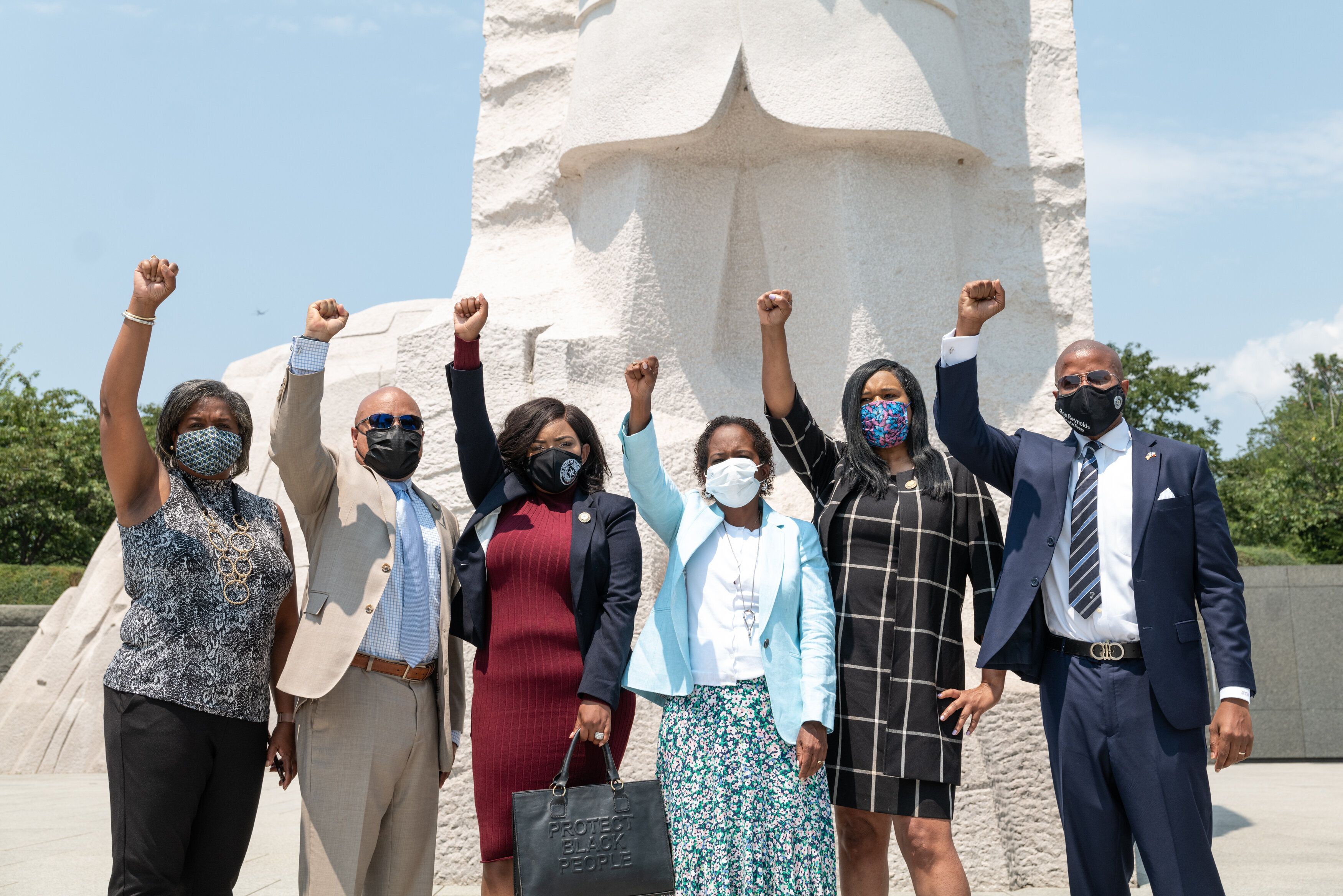 Six of the Texas Democrats who left their state to block a new voting restrictions bill gathered at the Martin Luther King Jr
