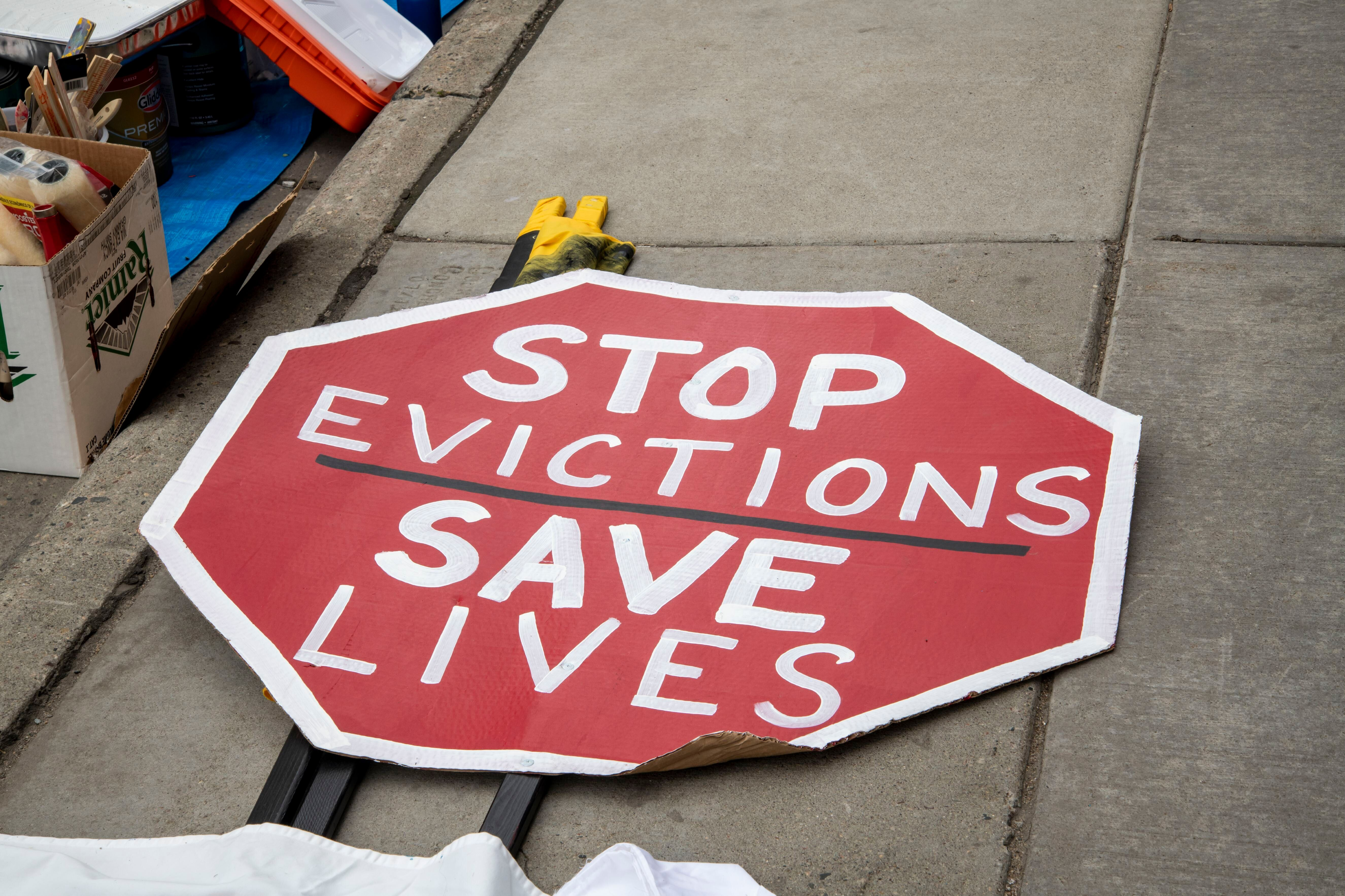 Protesters in Minneapolis rally to stop housing evictions during the pandemic.