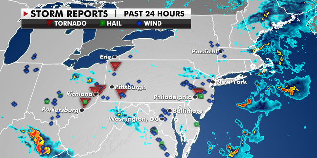 Storm reports in the last 24 hours. (Fox News)