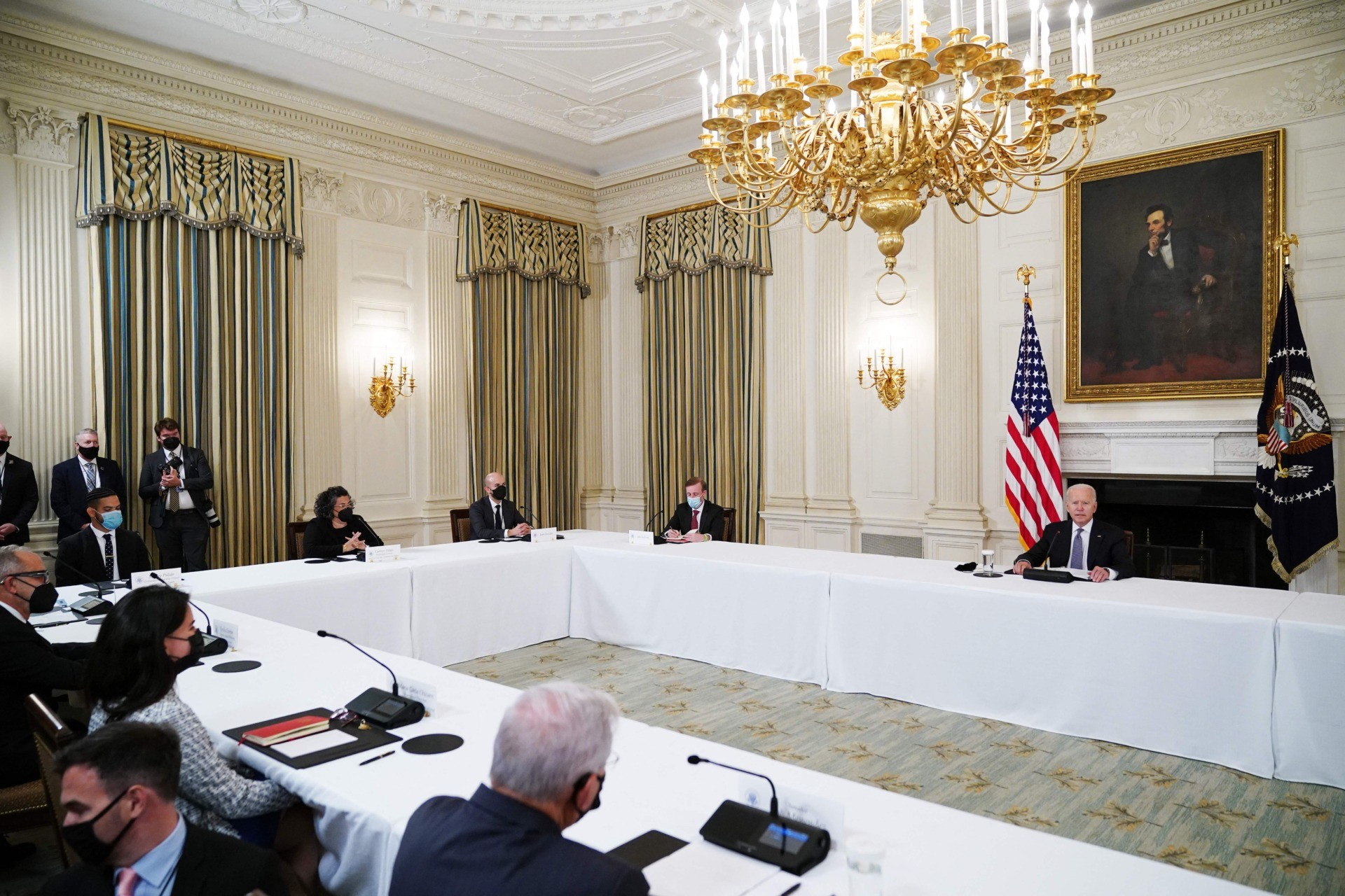 US President Joe Biden speaks during a meeting with Cuban-American leaders in the State Dining Room of the White House in Washington, DC on July 30, 2021. - The US Treasury announced sanctions July 30, 2021 on two top Cuban police officials as well as the country's entire National Revolutionary Police for their roles in suppressing anti-government demonstrations that began July 11. (Photo by MANDEL NGAN / AFP) (Photo by MANDEL NGAN/AFP via Getty Images)
