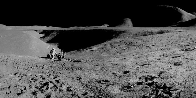 A panorama view of the first use of the Lunar Roving Vehicle (LRV) on the moon and the 14,000-foot Mount Hadley