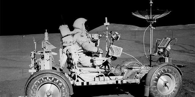 ommander Dave Scott on the Lunar Roving Vehicle (LRV)