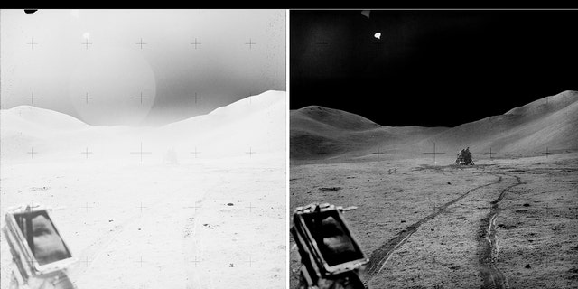 """A """"before and after"""" shot taken from the Lunar Roving Vehicle (LRV) showing the lunar module """"Falcon"""""""