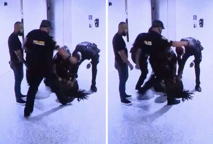 Video shows one of the officers kicking Dalonta Crudup, 24, in his head as he lies on the ground in police custody.