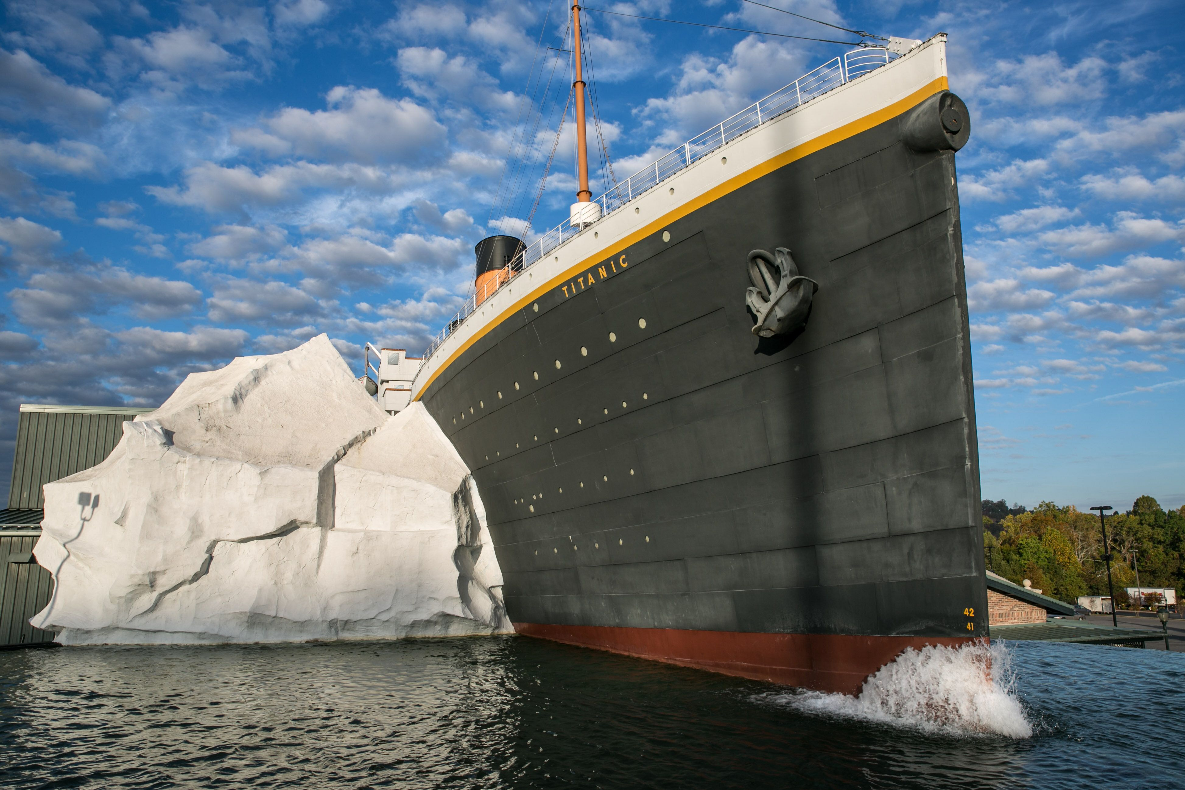 A half-scale replica of the Titanic hitting an iceberg is a main feature of the Titanic Museum as viewed in October 2016.