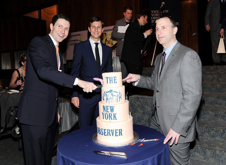 Then-New York Observer publisher Jared Kushner, center, CEO Joseph Meyer, left, and editor Ken Kurson attend The New York Obs