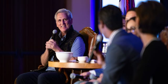 House GOP leader Rep Kevin McCarthy hosts a political retreat in Jackson Hole, Wyo., on Tuesday Aug. 17, 2021