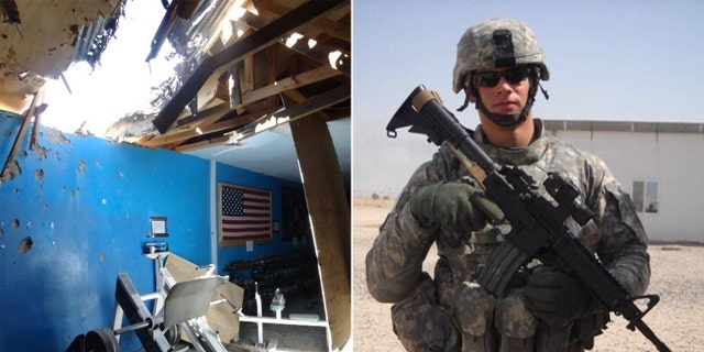 Photos of the aftermath of the rocket attack on the gym in Afghanistan on May 3, 2012, and Colin Wayne serving in the Army. (Photos courtesy of Colin Wayne)