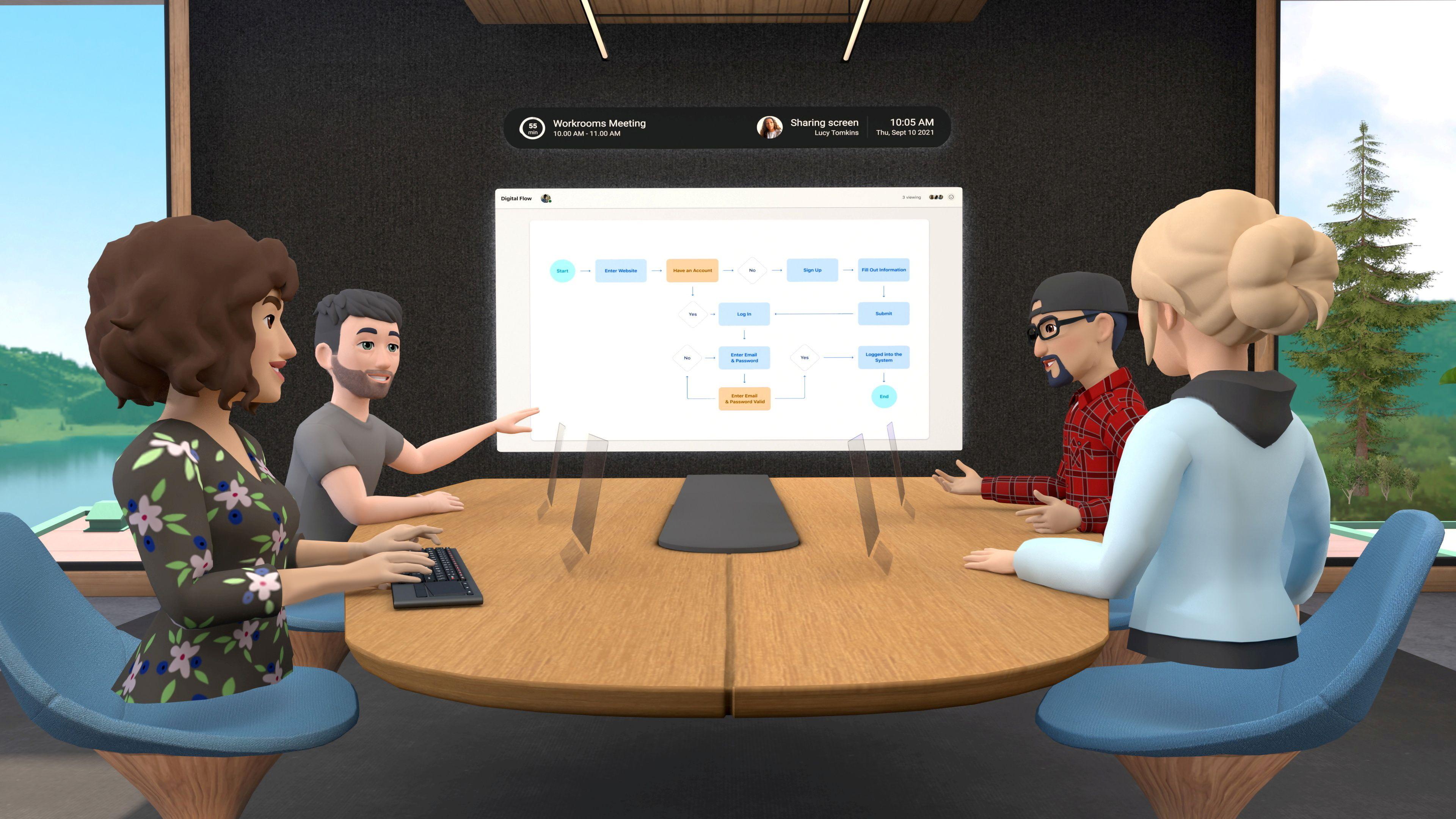 A look at Facebook's Horizon Workrooms virtual reality app.