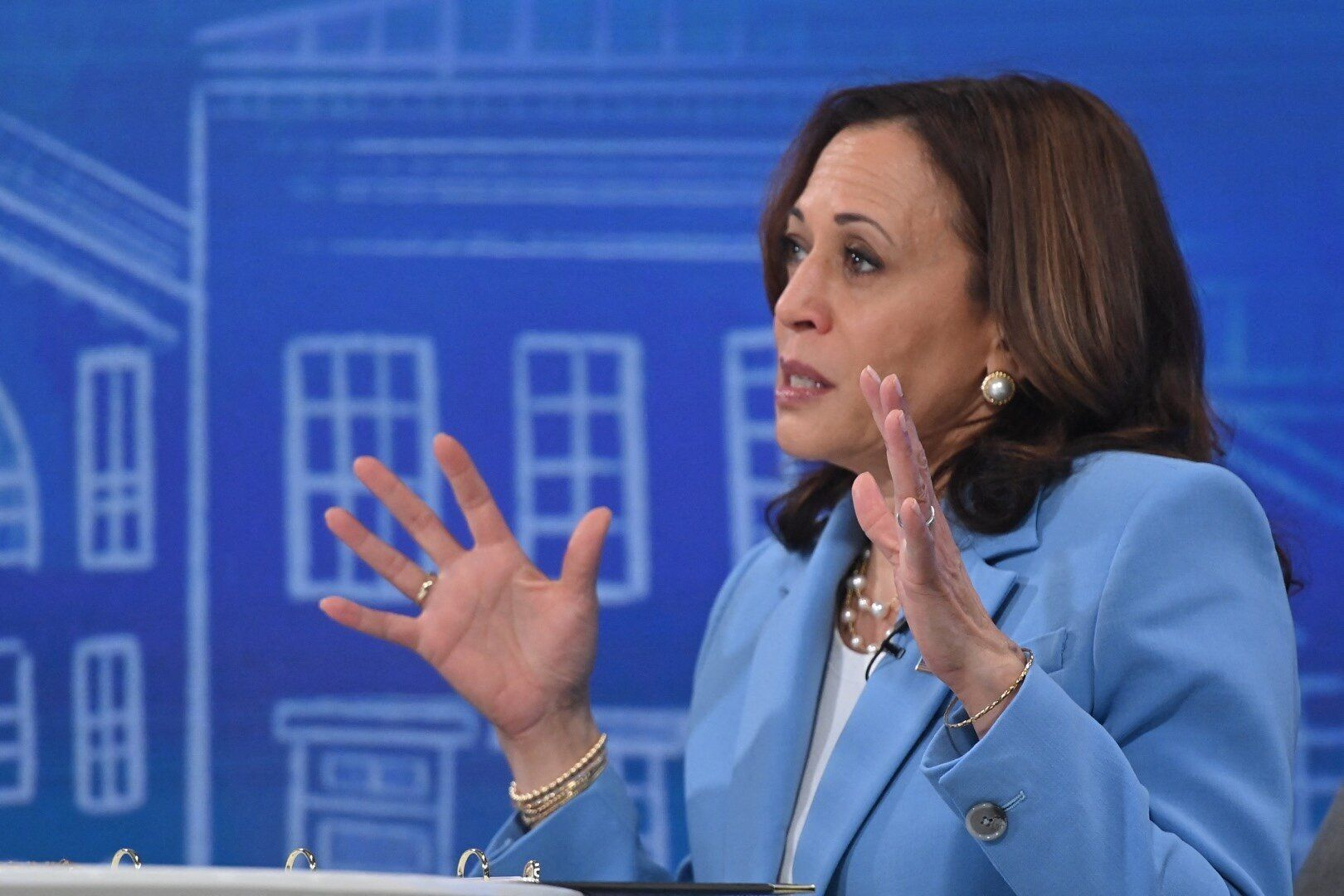 Vice President Kamala Harris speaks virtually to small business owners from the South Court Auditorium of the White House in