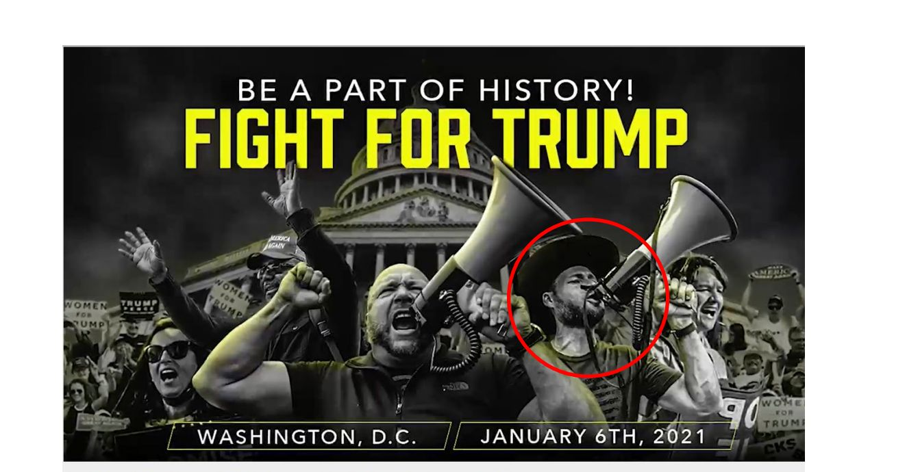 A promotional photo for Jan. 6 action featuring Alex Jones and Owen Shroyer (circled), submitted as evidence in the new crimi
