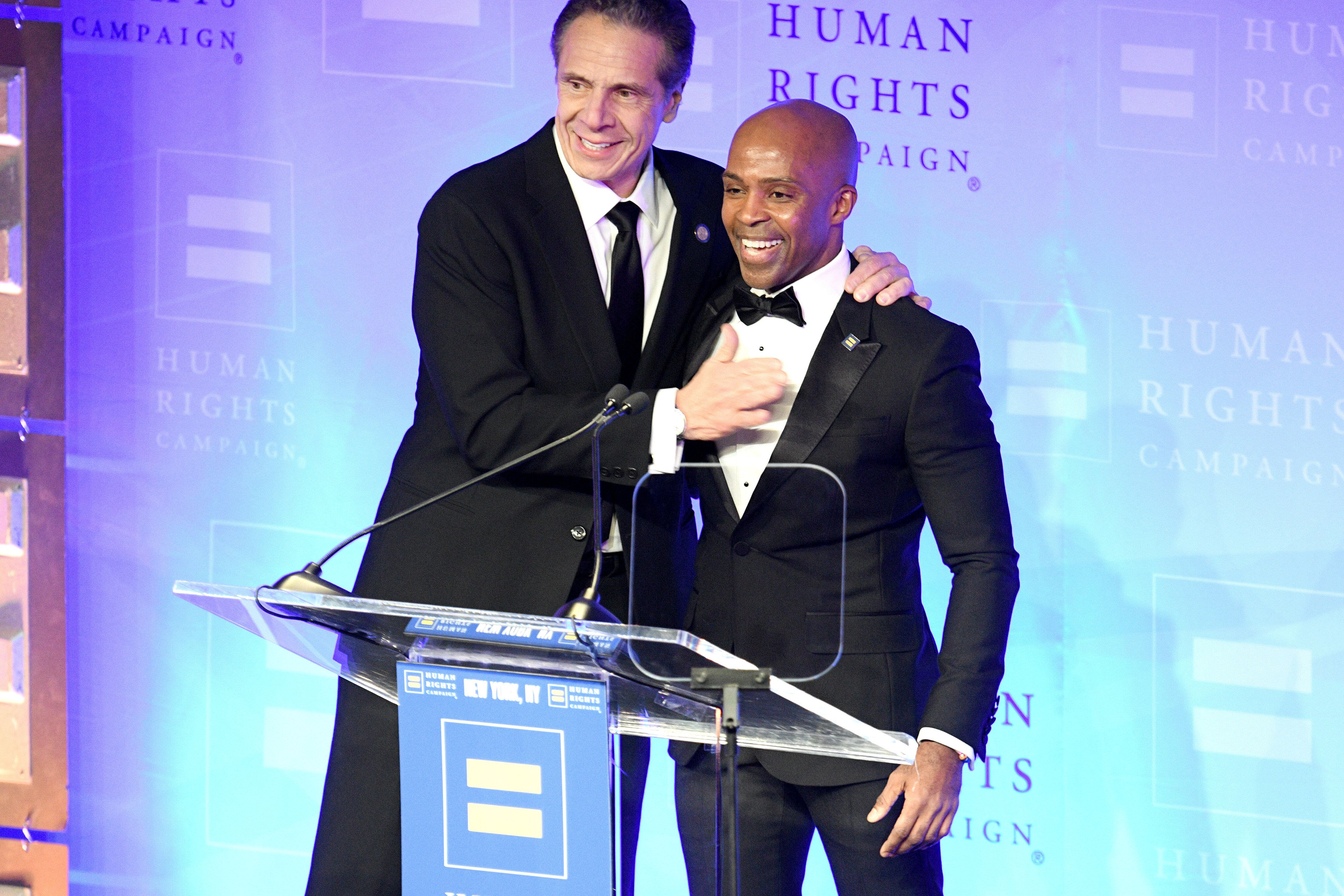 Human Rights Campaign president Alphonso David and New York Gov. Andrew Cuomo at an HRC gala in February 2020. David served a