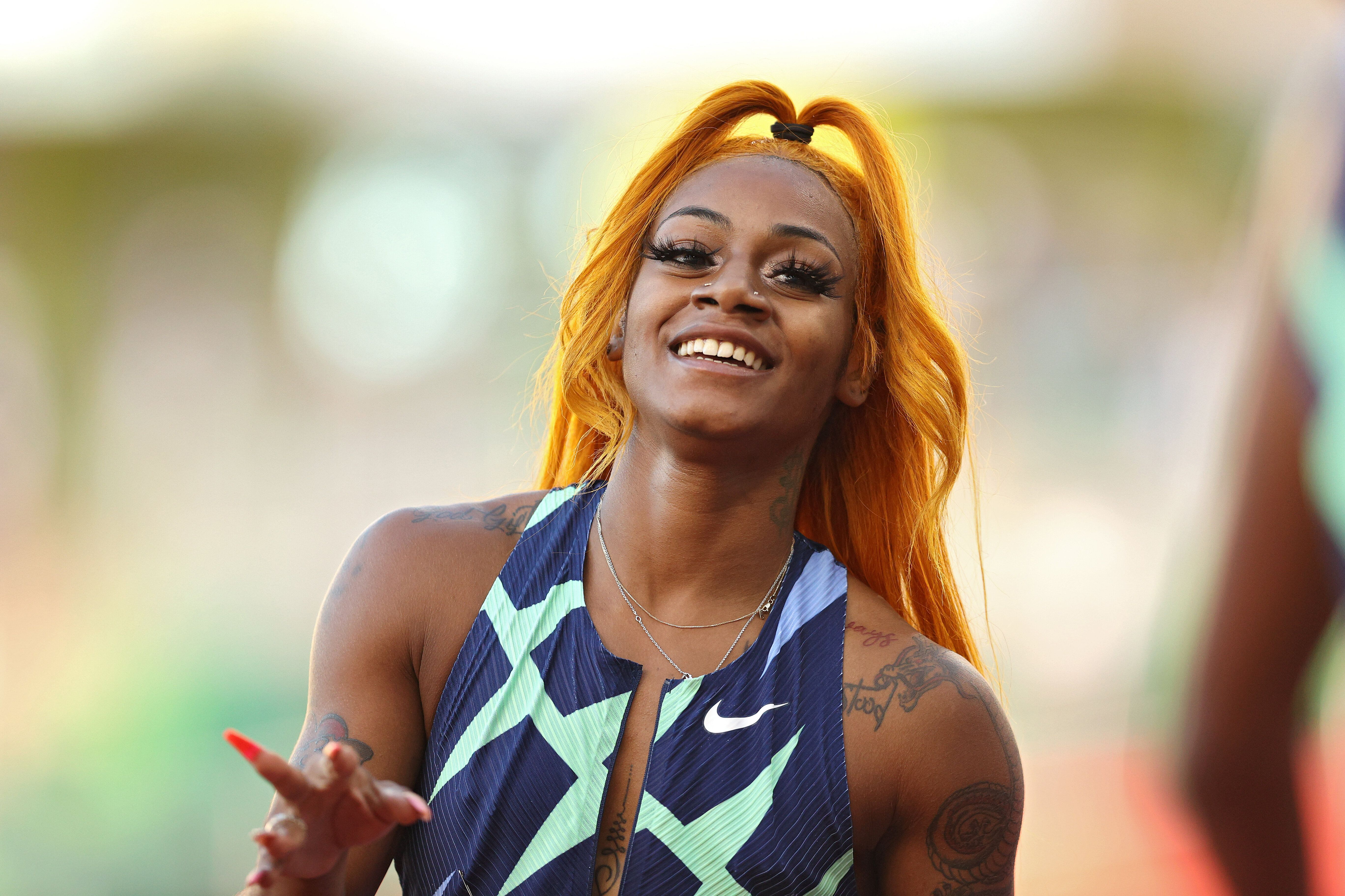 Sha'Carri Richardson after winning the Women's 100-meter final during the U.S. Olympic trials in Eugene, Oregon, ahead of the