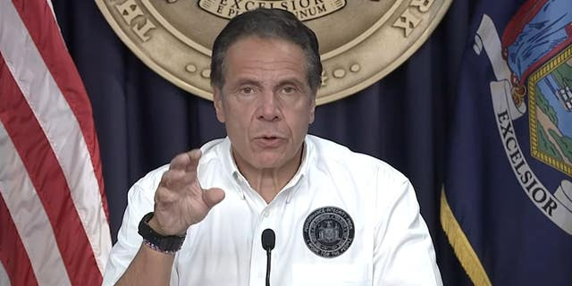 New York Gov. Andrew Cuomo speaks to reporters on Saturday, Aug. 21, 2021. (New York State Executive Chamber)