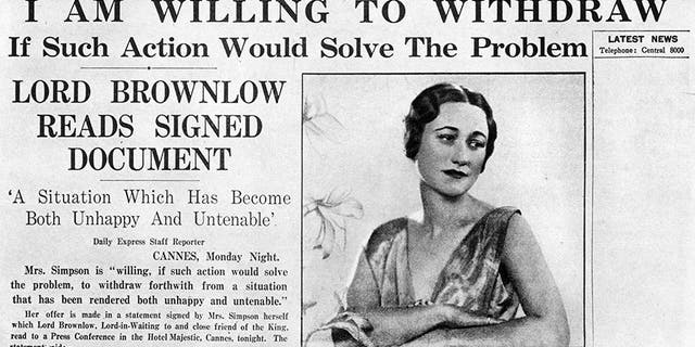 Article on the front page of the Daily Express about American socialite Wallis Simpson (18961986). Simpson's relationship with King Edward VIII (18941972) eventually led to his abdication.