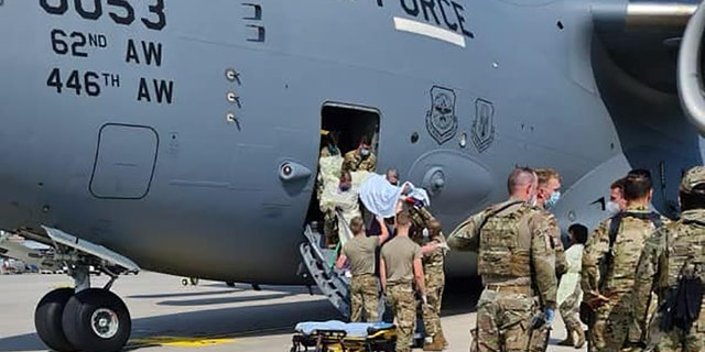 Airmen from the 86th Medical Group came aboard and delivered the child in the C-17's cargo bay after the aircraft landed at Ramstein Air Force Base in Germany on Saturday.