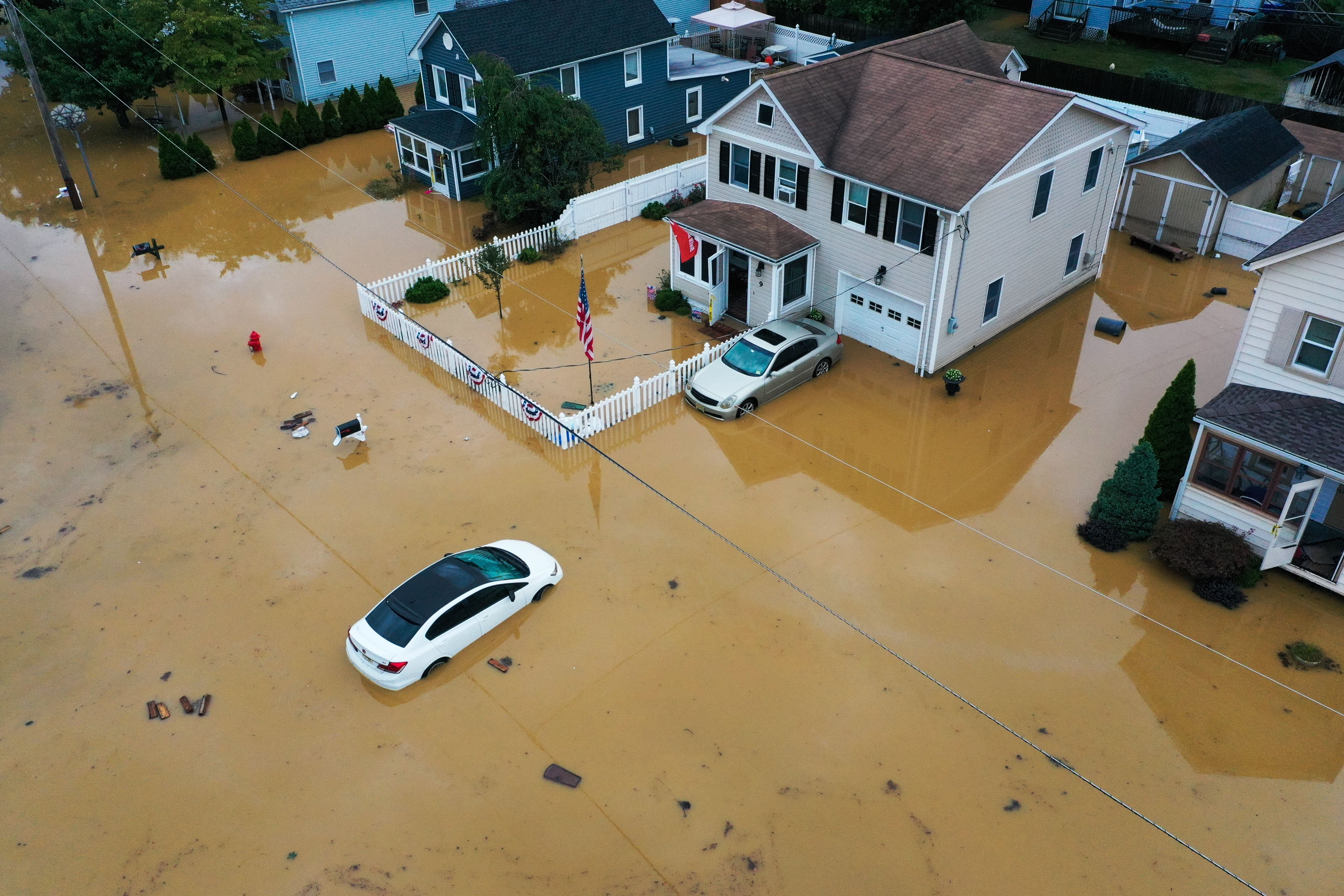 An aerial view of flooded streets in Helmetta, New Jersey, on Aug. 22, 2021.