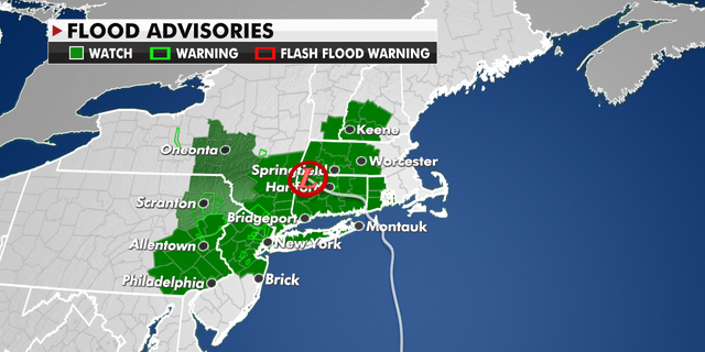 Flood advisories currently in effect in the Northeast.