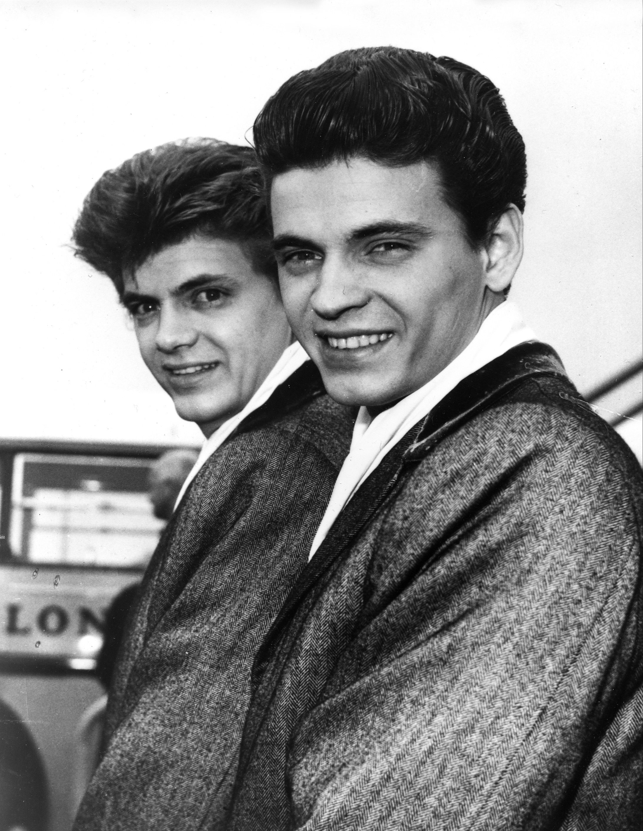 In this April 1, 1960 file photo, Phil, left, and Don of the Everly Brothers arrive at London Airport from New York to begin