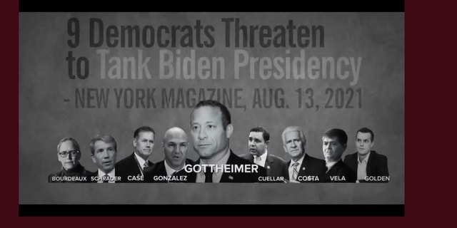 An ad from the progressive PAC Justice Democrats targeting moderate Democrats accidently included GOP Rep. Anthony Gonzalez of Ohio rather than Democrat Rep. Vicente Gonzalez of Texas. (Screenshot/Justice Democrats)