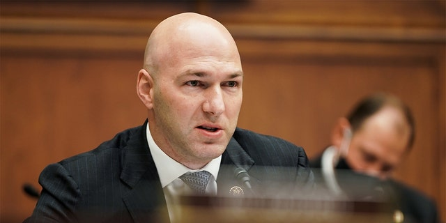 Rep. Anthony Gonzalez, a Republican from Ohio, speaks during a House Financial Services Committee hearing on Wednesday, Dec. 2 2020. (Greg Nash/The Hill/Bloomberg via Getty Images)