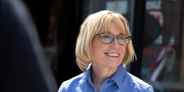 Democratic Sen. Maggie Hassan makes a stop in the northern New Hampshire city of Berlin on April 7, 2021. The former governor and first term senator is running for reelection in 2022.
