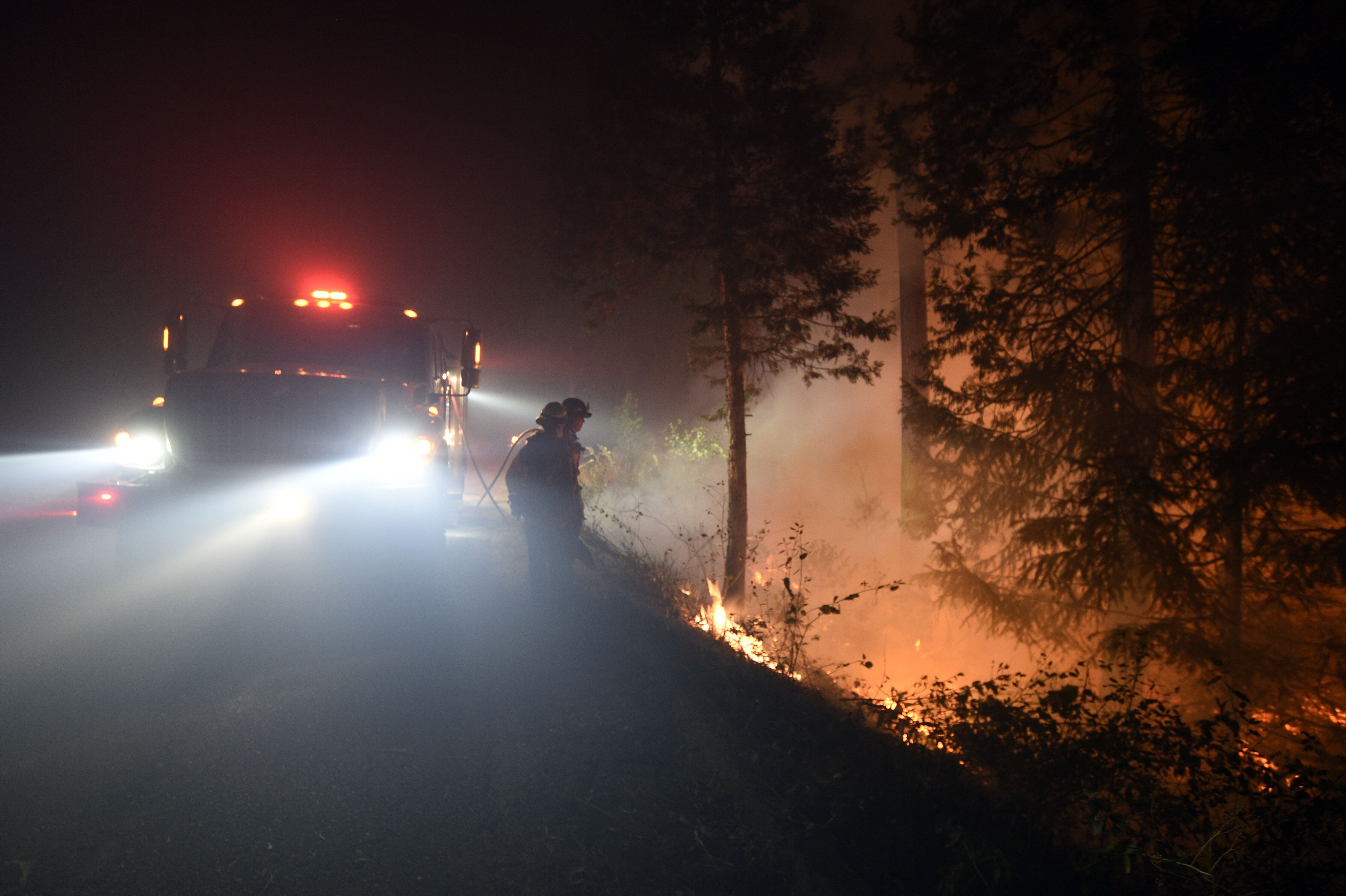 Fire crews performed controlled burns in the El Dorado National Forest in order to slow the spread of the explosive Caldor Fi