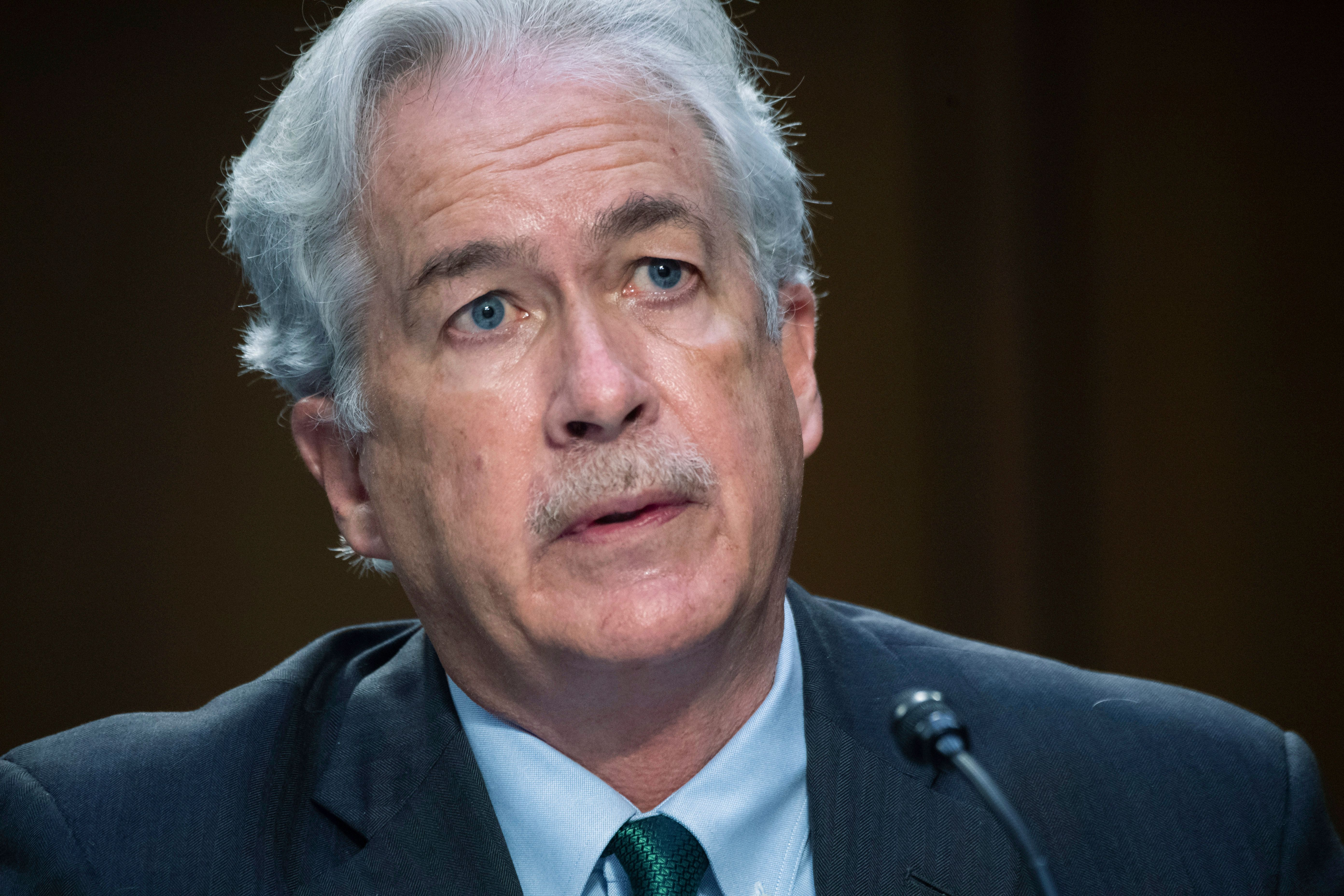 In this April 14, 2021 file photo, CIA Director William Burns testifies during a Senate Select Committee on Intelligence hear