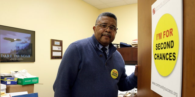 Dennis Gaddy, the co-founder of the Raleigh-based Community Success Initiative, is shown at the door to his office in Raleigh, N.C. in 2019. Gaddy was once behind bars and unable to vote for seven years after his release because he was on probation.