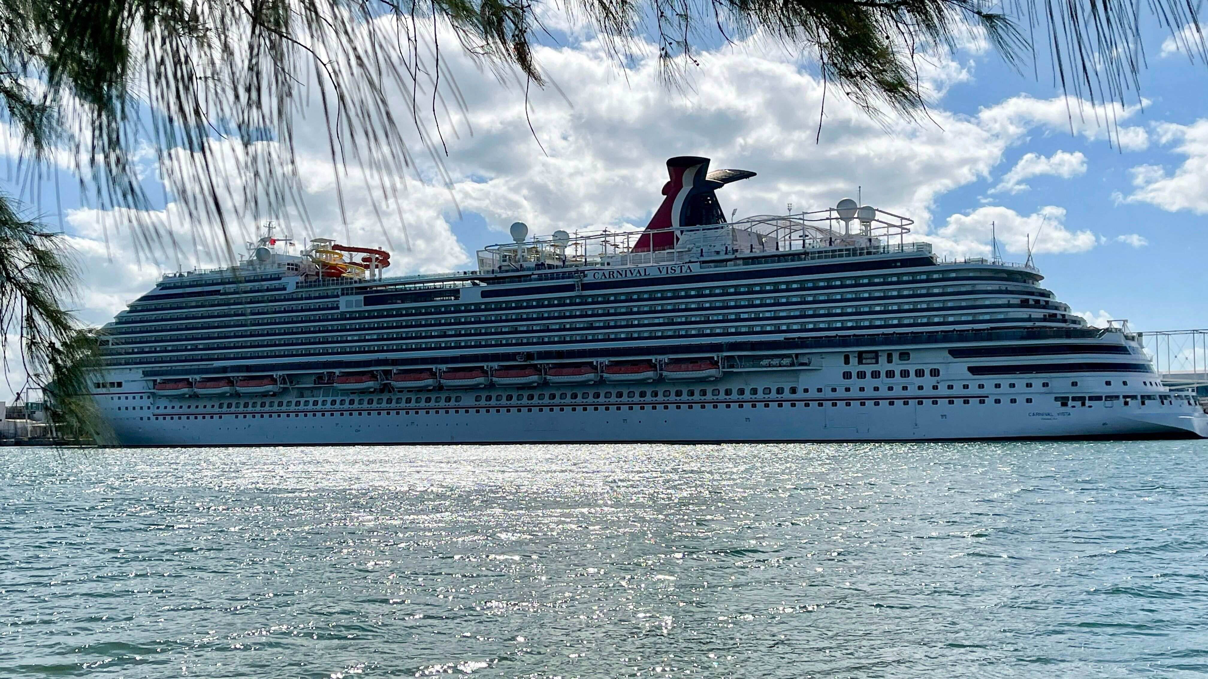 The cruise ship Carnival Vista is seen in Miami, Florida. A woman who traveled on the ship from Texas to Belize later died af
