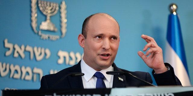 Israeli Prime Minister Naftali Bennett speaks in Jerusalem, Aug. 18, 2021. (Associated Press)