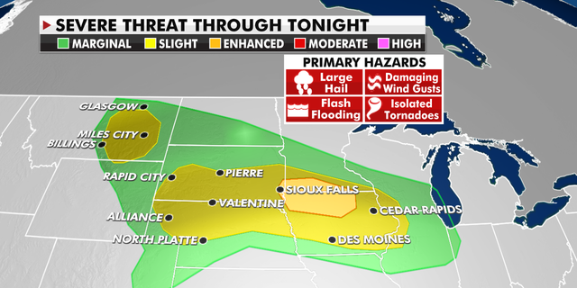 The severe weather threat for Thursday.
