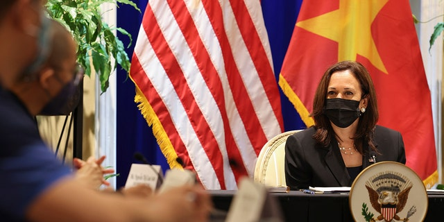U.S. Vice President Kamala Harris meets with activists who work on LGBT, transgender, disability rights and climate change at the U.S. Chief of Mission's residence in Hanoi, Vietnam, Thursday, Aug. 26, 2021. (Associated Press)