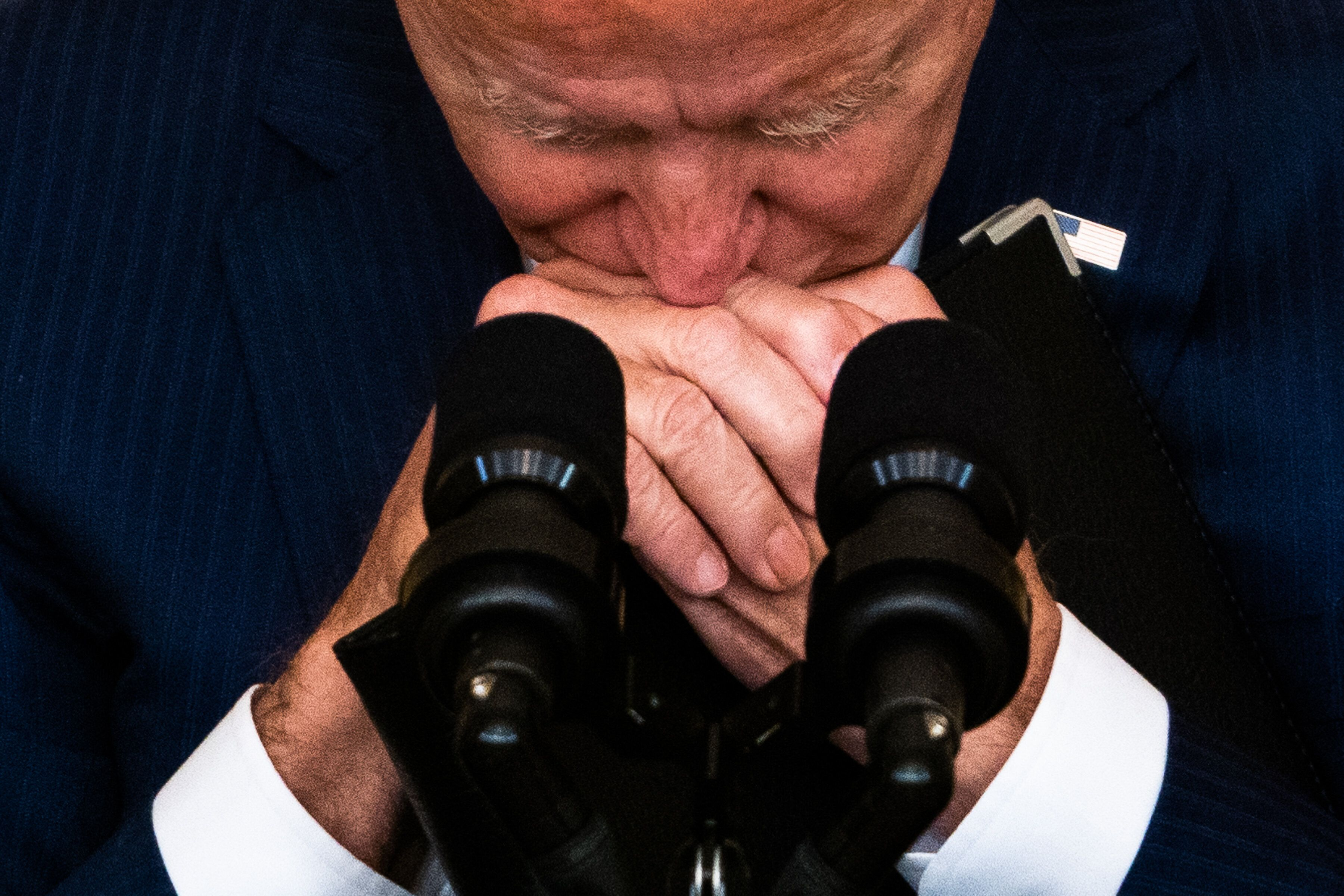 President Joe Biden takes a moment during questioning following his remarks regarding the U.S. service members killed in a te