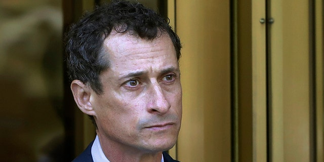 In this Sept. 25, 2017 file photo, former Congressman Anthony Weiner leaves federal court following his sentencing in New York. Weiner is set to report to the Federal Medical Center, Devens, Mass., Monday, Nov. 6, 2017, to serve his prison sentence in a sexting case that rocked the presidential race. (AP Photo/Mark Lennihan)