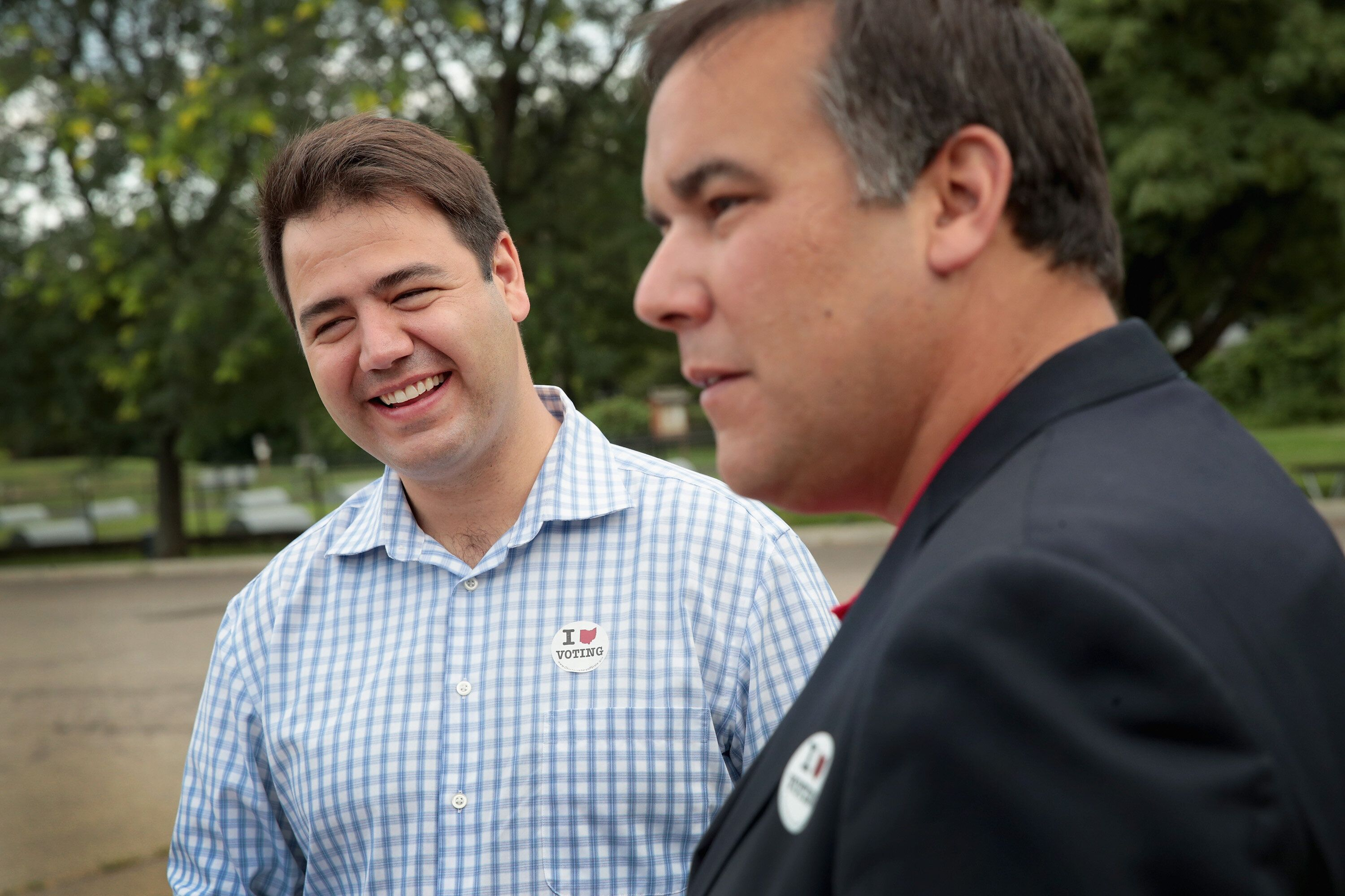 Danny O'Connor, left, stands with Columbus Mayor Andrew Ginther in August 2018. O'Connor's praise for Ginther's handling of p