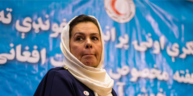 Portrait of Fatima Gailani, president of Afghan Red Crescent Society, at celebration of 80th anniversary of Afghan Red Crescent Society, Kabul, Afghanistan (Photo by NurPhoto/NurPhoto via Getty Images)