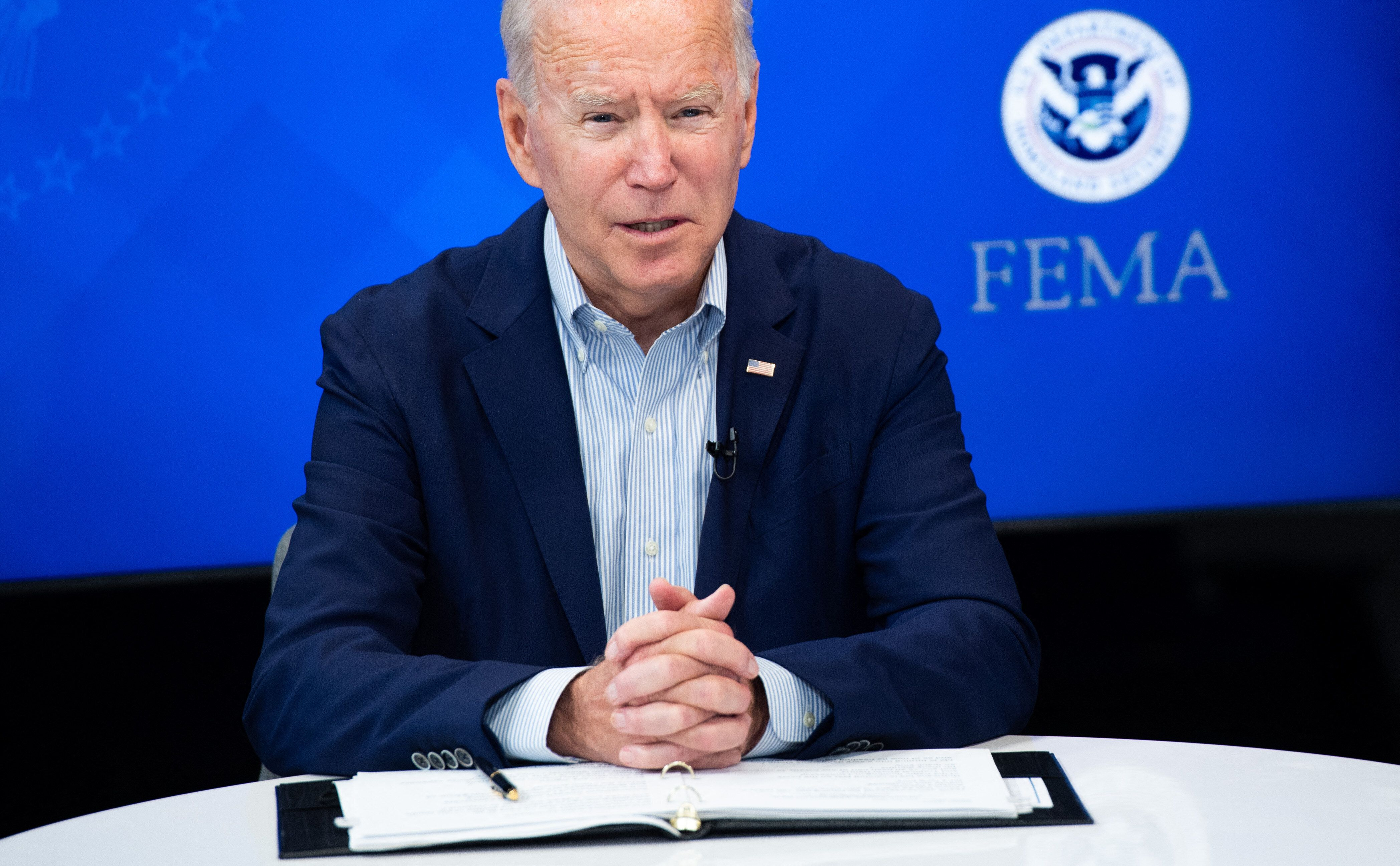 US President Joe Biden speaks during a virtual briefing by Federal Emergency Management Agency officials on preparations for