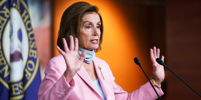 Speaker of the House Nancy Pelosi, D-Calif., meets with reporters at the Capitol in Washington, Wednesday, Aug. 25, 2021. (AP Photo/J. Scott Applewhite)
