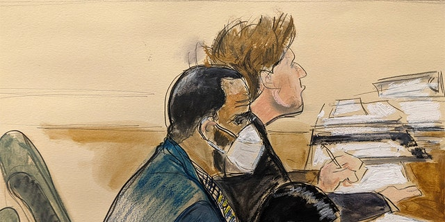 """In this courtroom artist's sketch R. Kelly, left, listens during his trial in New York, Thursday, Aug. 26, 2021. The 54-year-old Kelly has repeatedly denied accusations that he preyed on several alleged victims during a 30-year career highlighted by his mega hit """"I Believe I Can Fly."""""""
