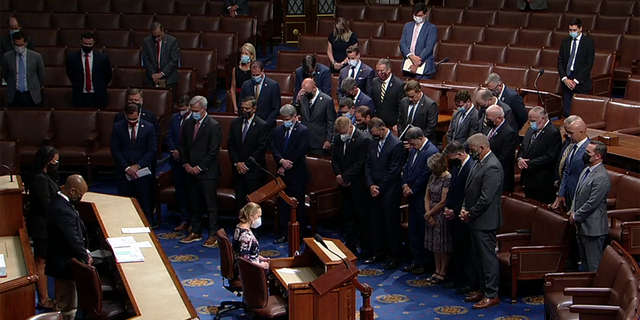 A group of House Republicans tried Tuesday to get the chamber to pass a bill requiring the Biden administration to have a plan to bring Americans stranded in Afghanistan home. The chamber observed a moment of silence first. (Official feed/screengrab)