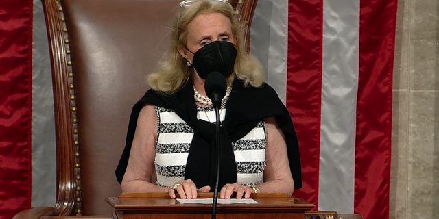 Rep. Debbie Dingell, D-Mich., presides over a pro forma session of the House of Representatives as about two dozen Republicans demand that the chamber consider a bill to force the Biden administration to come up with a plan to bring Americans stranded over Afghanistan home. (Official feed/screengrab)