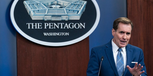 Pentagon spokesman John Kirby speaks during a media briefing at the Pentagon, Thursday, July 8, 2021, in Washington. Kirby Friday declined to name the ISIS terrorists killed by the American military in two recent airstrikes. (AP Photo/Alex Brandon)