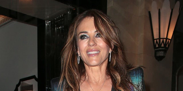 Elizabeth Hurley seen attending David Walliams' 50th Birthday party at Claridge's hotel in Mayfair on September 04, 2021 in London, England.