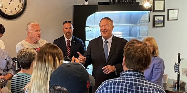 Former Secretary of State Mike Pompeo headlines an event for a GOP candidate running in a special legislative election, in Bedford N.H. on August 31, 2021