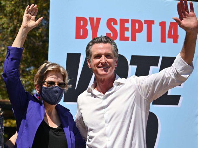 Warren and Newsom (Robyn Beck / AFP / Getty)