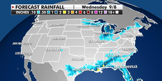 Forecast rainfall totals through Wednesday.