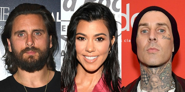 Scott Disick, left, was shaded by ex Kourtney Kardashian's former boyfriend Younes Bendjima after he appeared to criticize her PDA in Italy with Blink-182 rocker Travis Barker, right.