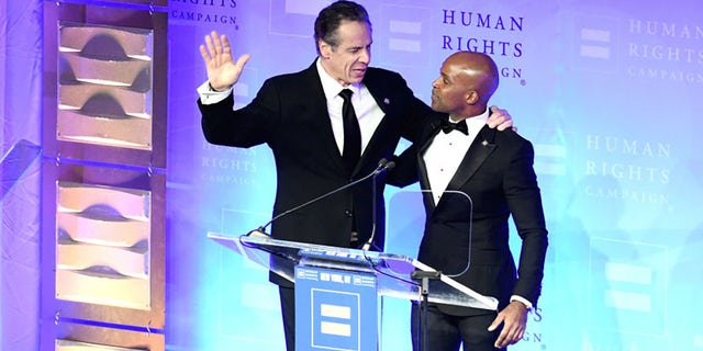 FILE: HRC President Alphonso David welcomes guest speaker New York State Governor Andrew Cuomo during the Human Rights Campaign's 19th Annual Greater New York Gala at the 1Marriott Marquis Hotel on February 01, 2020 in New York City. (Photo by Gary Gershoff/Getty Images)